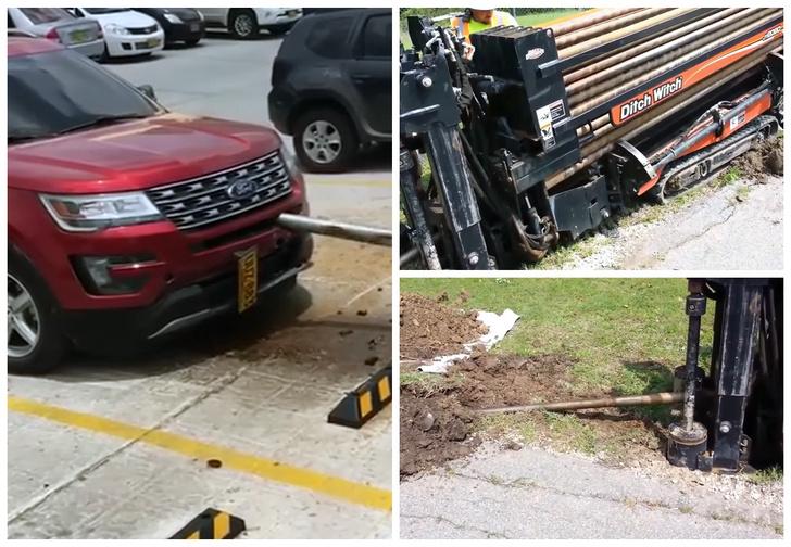 Фото №1 - «Алло! Это полиция? Из земли вылез железный червь и напал на мою машину!» (видео)