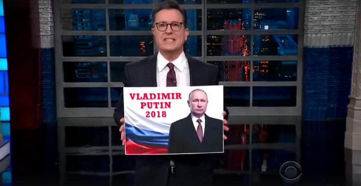 Фото №1 - Джимми Киммел, Стивен Колбер и Джон Оливер о выборах президента в России
