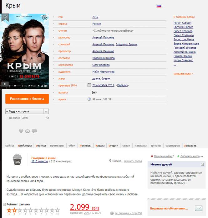 Фото №2 - Хакеры взломали «Кинопоиск», чтобы подтасовать результаты в пользу фильма «Крым»
