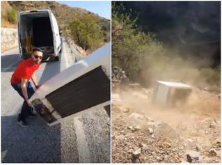 Испанец хотел прославиться, сняв видео, как скидывает холодильник с обрыва, а получил штраф в 45 тысяч евро