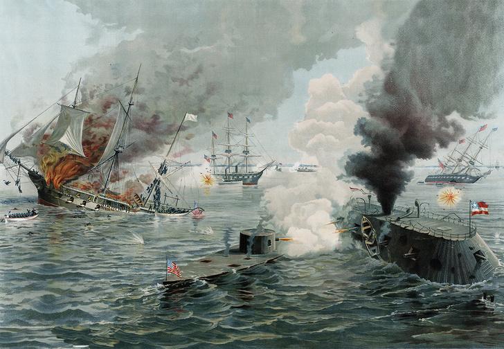 Фото №1 - Бодалась шляпа с сараем: история первого в мире морского боя между броненосцами